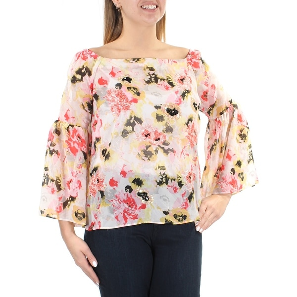 7fe890e3868 INC Womens Pink Sheer Sequined Floral Bell Sleeve Off Shoulder Top Size: L