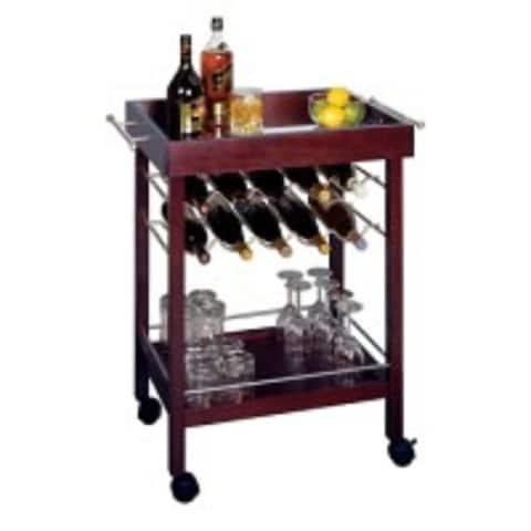 "33.25"" Dark Espresso Brown Bar Cart with Mirror Top and Wine Rack"