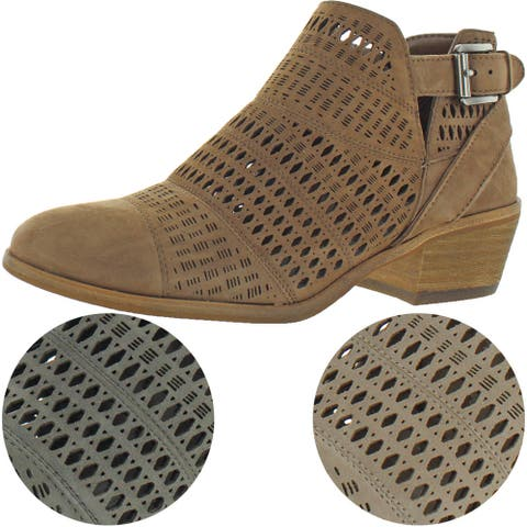 Vince Camuto Paavani Women's Perforated Suede Block Heel Ankle Bootie