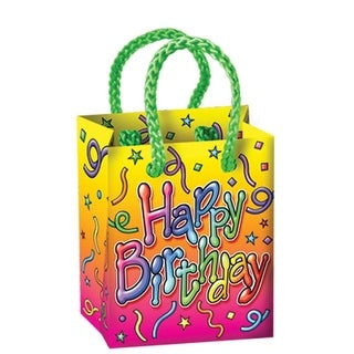 "Club Pack of 48 Multi-Colored ""Happy Birthday"" Mini Gift Bag Party Favors 3.25'' - Multi"