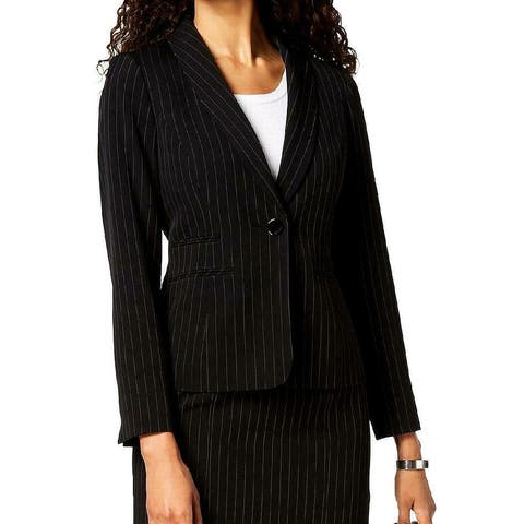 Kasper Women's Jacket Pinstriped One-Button Black Size 4 Blazer