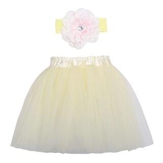 Cute Ivory Pink Dance Tutu Skirt Flower Headband Set Ages 3-8 - One size