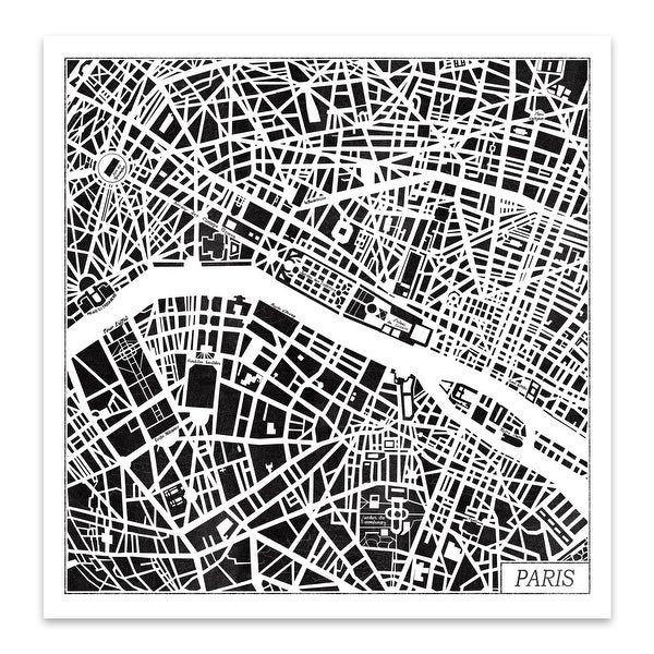 Black and White City Maps Metal Wall Art Print. Opens flyout.