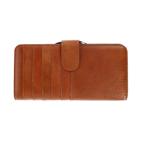 CTM® Women's Leather Slim Clutch Wallet with Snap Closure - one size