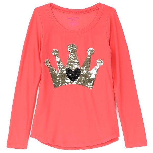 1dc63496bd8f Shop Colette Lilly Girls 4-6X Crown Sequin Long Sleeve Shirt - Coral - Free  Shipping On Orders Over $45 - Overstock - 26268257