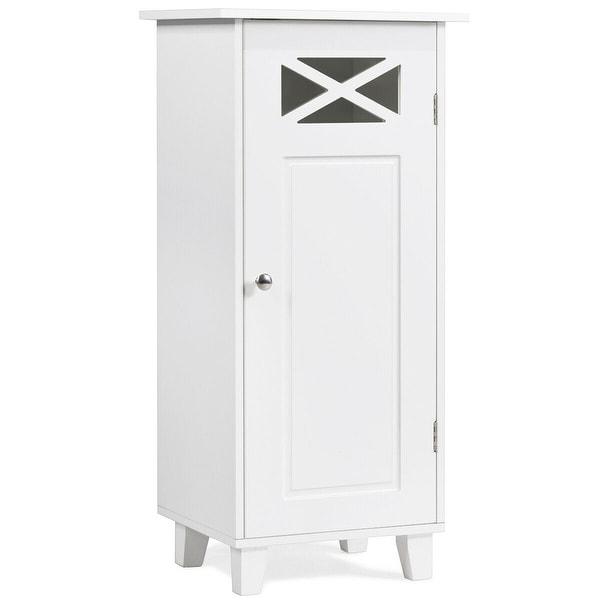 Gymax Bathroom Cabinet FreeStanding Storage SideTable Organizer Adjustable shelf White