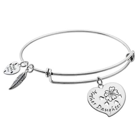 925 Sterling Silver Mother & Daughter Heart Dangle Charm Adj. Bracelet