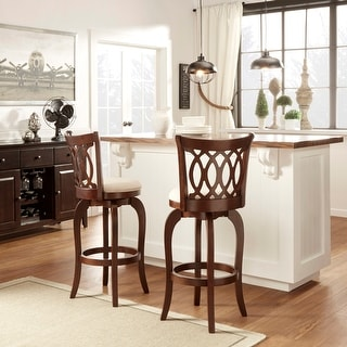 Link to Verona Linen Scroll-back Swivel 29-inch Bar Stool by iNSPIRE Q Classic Similar Items in Dining Room & Bar Furniture