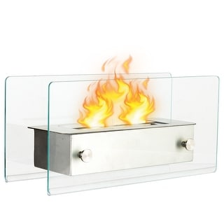 Gymax Tabletop Fireplace Portable Stainless Steel Ventless Bio Ethanol Indoor Outdoor