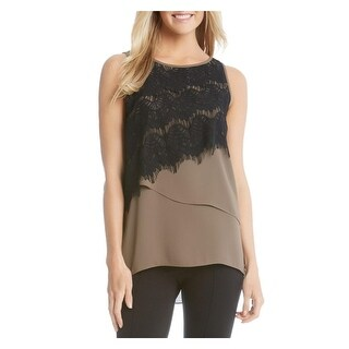 Karen Kane Womens Blouse Lace Overlay Tiered