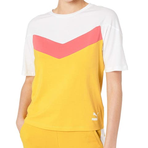 Puma Womens Top White Pink Yellow Size XL Knit Colorblock Chevron Tee