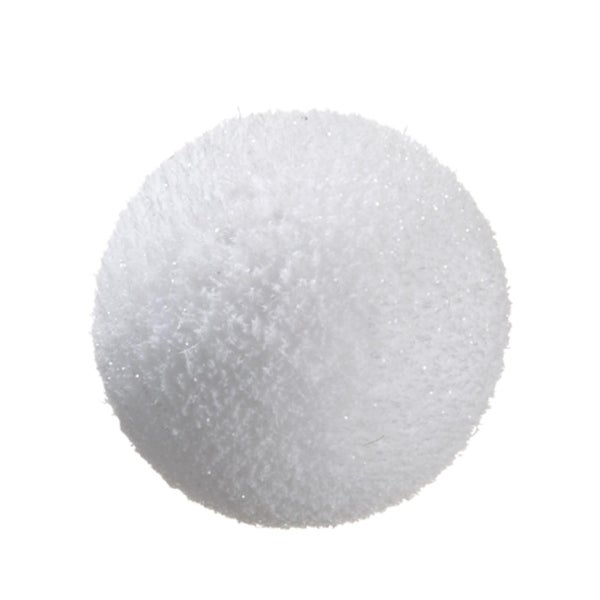 "6.5"" Tell a Story White Glitter Snowball Christmas Ornament"
