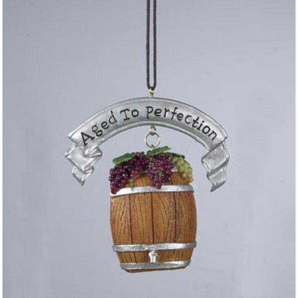 """Tuscan Winery """"Aged to Perfection"""" Wine Barrel Christmas Ornament - PURPLE"""