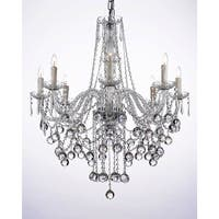 """Harrison Lane J2-1033 8 Light 28"""" Wide Single Tier Crystal Chandelier with Hanging Crystal Ball Accents"""