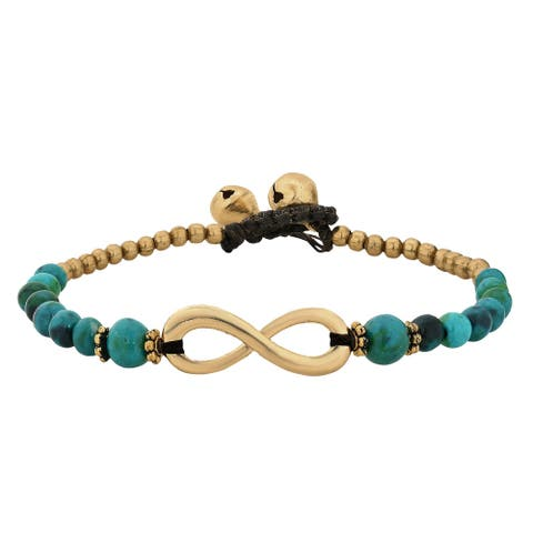 Handmade Beautiful Infinity Symbol with Stone Brass Beads Handmade Bracelet (Thailand)