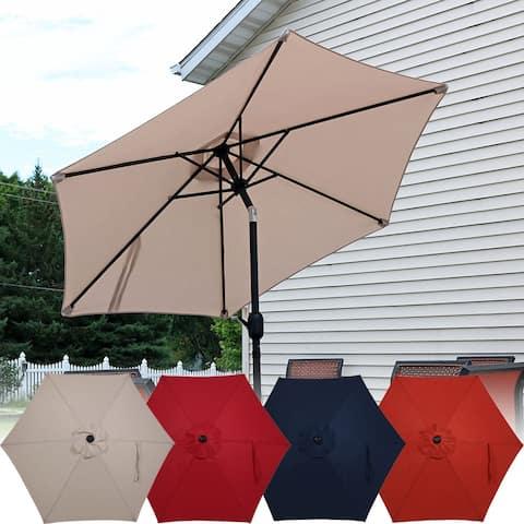 Sunnydaze Patio Market Umbrella w/ Tilt & Crank 7.5ft Aluminum - Multiple Colors
