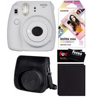 Fujifilm Instax Mini 9 (Smokey White) w/Macaron Film, Groovy Case & Album Kit
