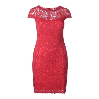 Tadashi Shoji Womens Appliqued Mesh Cap Sleeves Cocktail Dress
