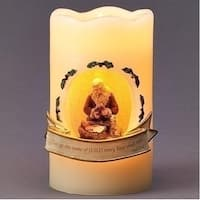 """5"""" Yellow Battery Operated LED Lighted Nativity Scene with Santa Pillar Candle"""