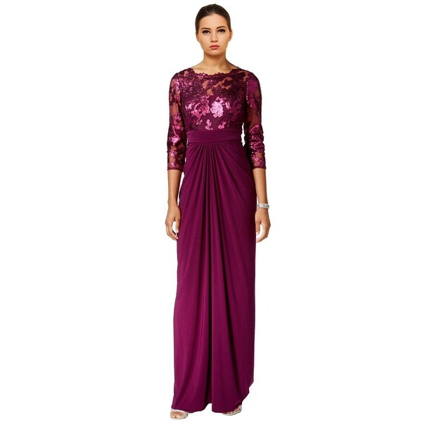 a5a9213cdda12 Shop Adrianna Papell Sequin 3/4 Sleeve Illusion Top Evening Gown ...