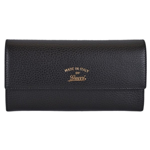 93b4c24edc0 Gucci Women  x27 s 354496 Black Textured Leather Trademark Logo Swing Wallet  - 7.5