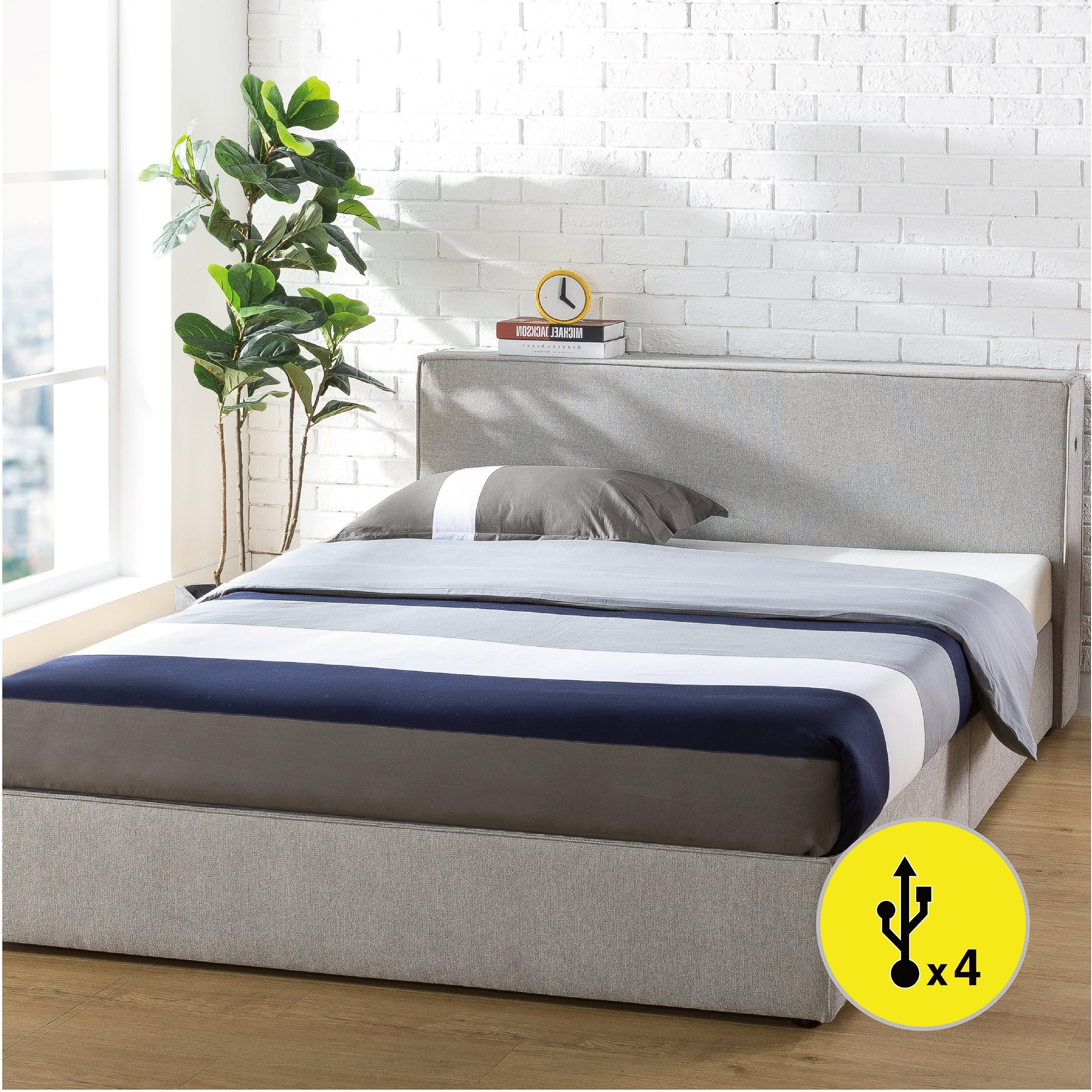 Priage By Zinus Light Grey Upholstered Platform Bed Frame With Headboard Shelf And Usb Overstock 32038780