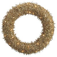 "22"" Pre-Lit Sparkling Gold Glittered Sequin Christmas Iced Wreath #XAI620-GO"