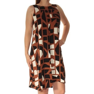 Womens Brown Printed Sleeveless Below The Knee Shift Dress Size: 18