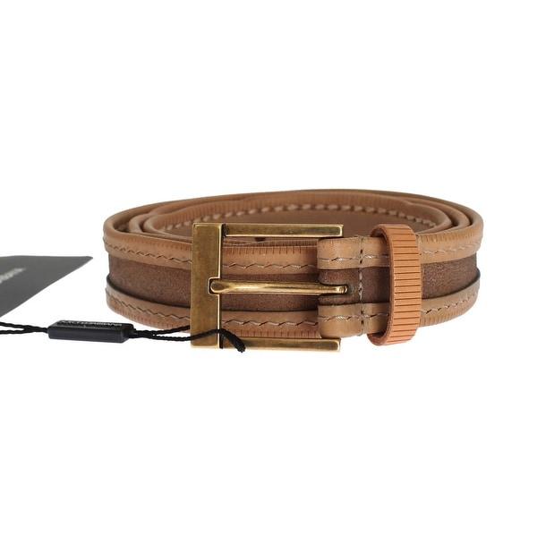 Dolce & Gabbana Brown Leather Gold Belt