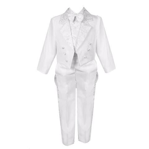 Little Boys White 5 Piece Vest Pants Tail Jacket Jacquard Tuxedo Suit