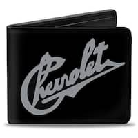 Chevrolet Heritage script Slant Black Tan Bi Fold Wallet - One Size Fits most