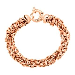 Byzantine Link Bracelet in 18K Rose Gold-Plated Bronze - Pink