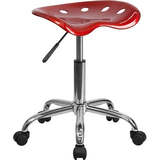 Brittany Wine Red Tractor Seat & Chrome Multipurpose Stool