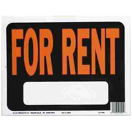 "Hy-Ko 3005 For Rent Signs In Hy-Glo Orange & Black, 9"" x 12"", Plastic"