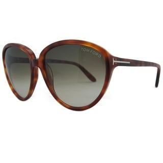 Tom Ford TF 203/S 54P Margreth Light Havana Round Sunglasses