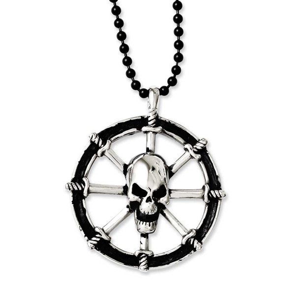 Chisel Stainless Steel Antiqued Pirates Wheel with Skull 30in Necklace (3 mm) - 30 in