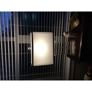 Crystal Rectangular Table Lamp with Grey Shade