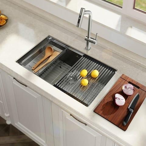 """32-inch Undermount Kitchen Sink with Intergrated Ledge & Accessories - 32"""" x 19"""" x 10"""""""