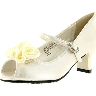 Little Angel Womens Amber-517E Fabric Chiffon Floral Decor Peep Toe Mary Jane Kitty Heel Pump