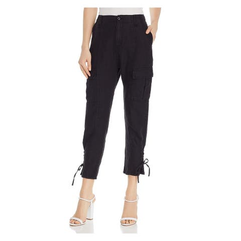 JOIE Womens Black Pocketed Zippered Lace-up Ankle Cargo Pants Size 0