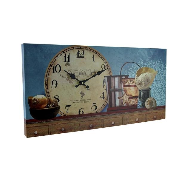 Beach Themed Decorative Wood Wall Clock - 12 X 23.5 X 1.5 inches