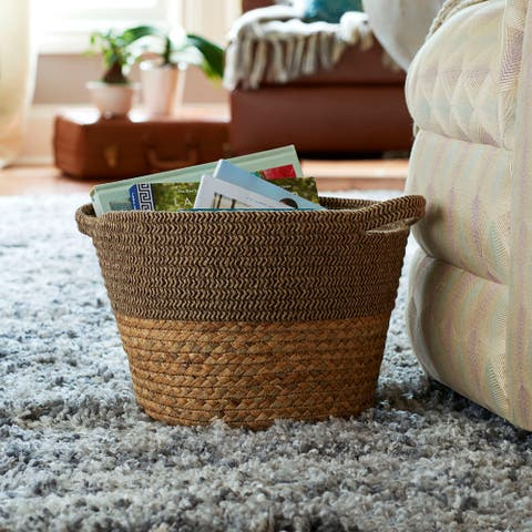 Household Essentials Two-Toned Corn and Hyacinth Wicker Tweed Basket