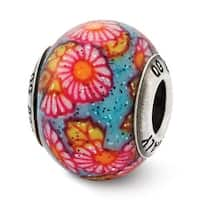 Italian Sterling Silver Reflections Multicolor Floral Decorative Overlay Glass Bead (4mm Diameter Hole)