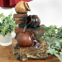 Sunnydaze Rustic Brick Wall & Jugs Tabletop Fountain with LED - 10.5 Inch Tall