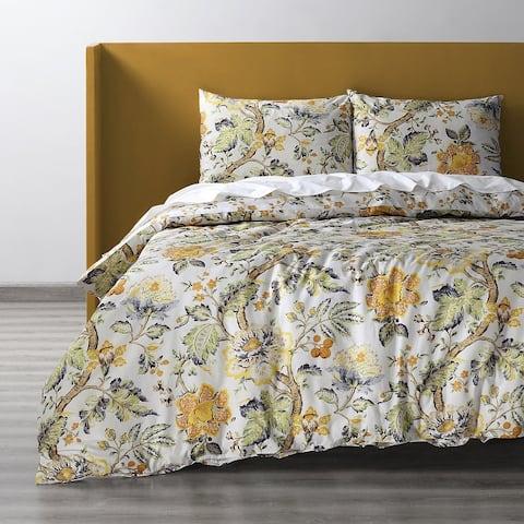 Exclusive Fabrics Larkspur Gold Cotton Double Slub Linen Weave Reversible Duvet Set