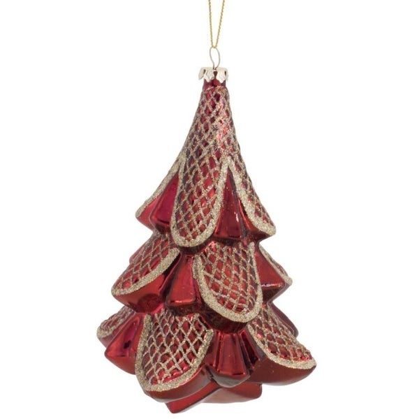 Pack of 6 Decorative Glass Red and Gold Tree Ornament