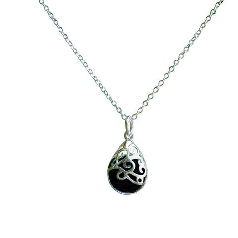 Recycled Antique Black Depression Glass and Sterling Silver Filigree Teardrop Necklace