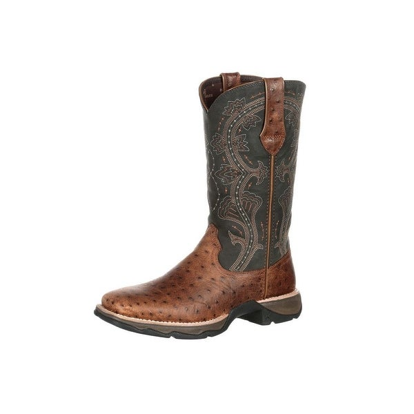 Durango Western Boots Womens Rebel Ostrich Embossed Brown