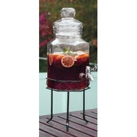Palais Glassware High Quality Clear Glass Octagon Beverage Dispenser - 1.5 Gallon, with Glass Lid and Metal Stand