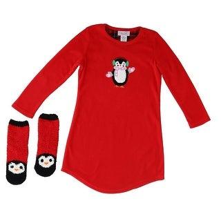 Rene Rofe Girl's Night Gown and Slipper Sock Pajama Set